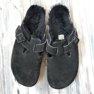 Birkenstock Shoes - Birkinstocks Boston Shearling suede clogs sz 42